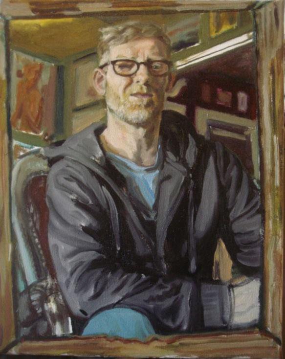 Gemaakt voor de groeps expositie van het Nederlands Portretschap. 40-50 cm olie op linnen