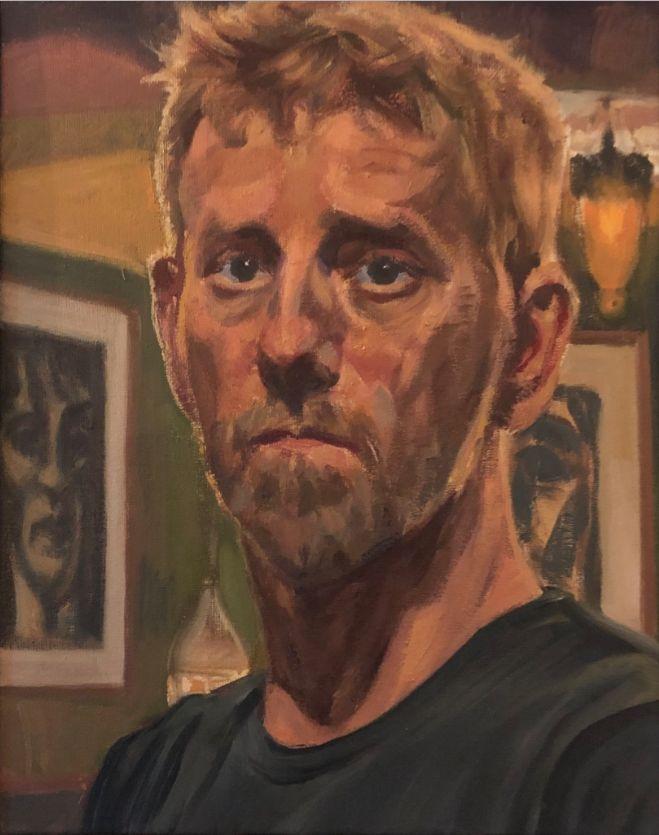 Gemaakt voor de groeps expositie van het Nederlands Portretschap . 40-50 cm olie op linnen